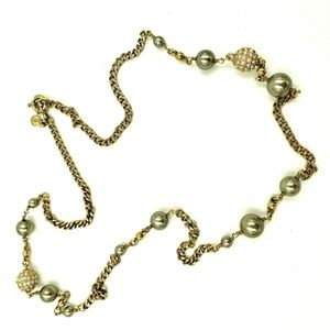 J CREW Green & Gold Tone Station Necklace